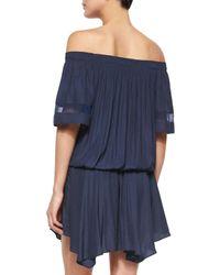 Ramy Brook - Blue Jessa Plisse Off-the-shoulder Dress - Lyst