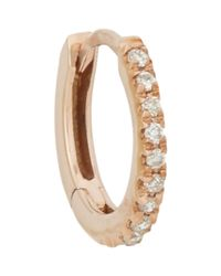 Stone - Metallic Pave Diamond & White Gold Hoop Earring - Lyst