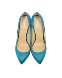 Charlotte Olympia - Party Shoes 110 Teal Blue Satin Silk & Pvc Pump - Lyst