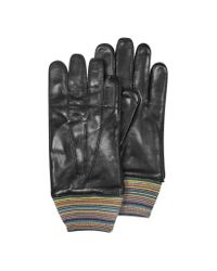 Paul Smith | Gray Striped Cuff Wool And Leather Men'S Gloves for Men | Lyst