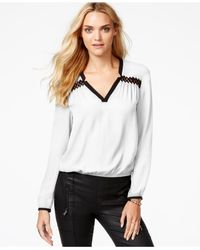 Guess | White Cutout-detail Blouson Top | Lyst