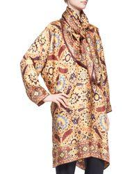 Eskandar Metallic Mughal Garden Square Silk Scarf