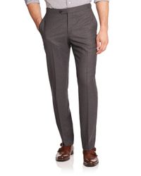 Isaia - Gray Flat-front Italian Wool Pants for Men - Lyst