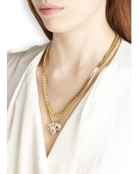John & Pearl | Metallic Gold Plated Swarovski Cluster Necklace | Lyst