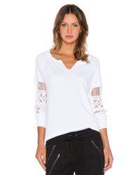 Pam & Gela - White Hi-low Lace Sweatshirt - Lyst