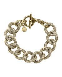 Michael Kors - Gray Golden Pave Curb-link Bracelet - Lyst