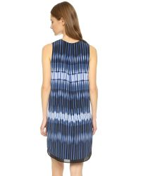 VINCE | Blue Printed Tie Dye Dress | Lyst