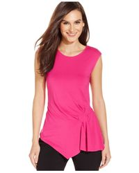 Vince Camuto | Red Sleeveless Ruched Crew-neck Top | Lyst