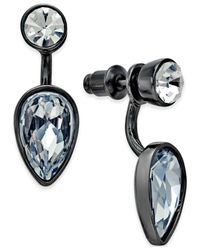 ABS By Allen Schwartz | Gray Hematite-tone Crystal Teardrop Front-back Earrings | Lyst