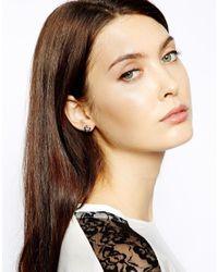 Karen Millen | Metallic Crystal Sprinkle Stud Earring | Lyst