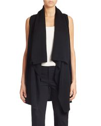 Lord & Taylor | Black Shawl Collar Open Vest Cashmere Cardigan | Lyst