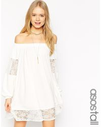 ASOS | White Swing Dress With Gypsy Shoulder Detail And Lace Insets | Lyst