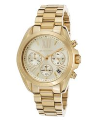 Michael Kors - Metallic Pre-Owned Women'S Bradshaw Chronograph Gold-Tone Stainless Steel Gold-Tone Dial - Lyst