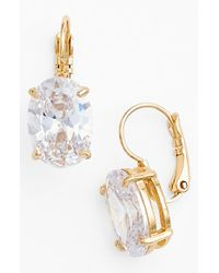 kate spade new york | Metallic 'draped Jewels' Oval Drop Earrings - Clear | Lyst