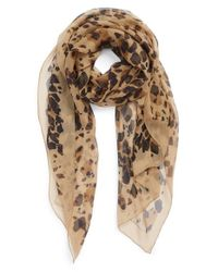 Burberry | Brown Animal Print Silk Georgette Scarf | Lyst