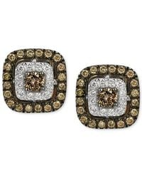 Le Vian | Chocolatier Brown And White Diamond Stud Earrings In 14k White Gold (9/10 Ct. T.w.) | Lyst