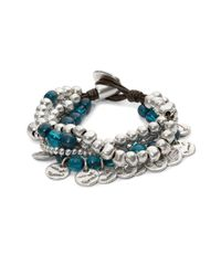 Uno De 50 | Blue Bead And Charm Layered Bracelet | Lyst