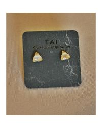 Tai | Natural Triangular Cat's Eye Stud | Lyst