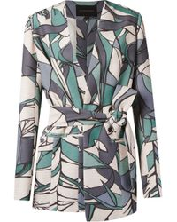 Giuliana Romanno - Green Belted Printed Blazer - Lyst