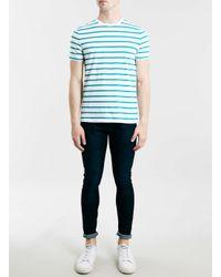 TOPMAN - Aqua Blue Stripe Slim Fit Crew Neck T-shirt for Men - Lyst