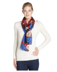 Micky London - Blue And Red 'alice In Wonderland' Printed Scarf - Lyst