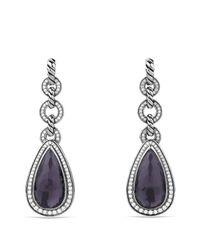 David Yurman - Metallic Anjou Drop Earrings With Black Orchid & Diamonds - Lyst
