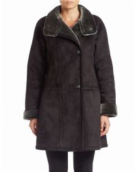 Gallery | Black Faux Shearling-trimmed Coat | Lyst