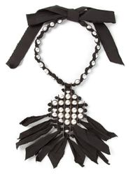 Lanvin   Black Pearl And Ribbon Necklace   Lyst