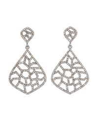 Bavna | Metallic Sterling Silver Earrings With Champagne Rose Cut Diamonds | Lyst