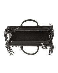 Saint Laurent - Black Fringed Leather Shoulder Bag - Lyst