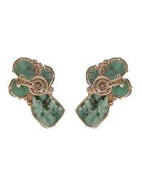 Federica Rettore - Blue Emerald Flower Earrings - Lyst