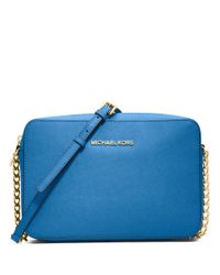 MICHAEL Michael Kors | Blue Jet Set Leather Large Crossbody Bag | Lyst