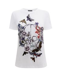 Alexander McQueen - White Moth Embroidery Boxy T-Shirt - Lyst