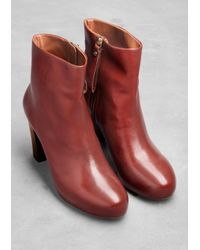 & Other Stories - Red Leather Ankle Boots - Lyst