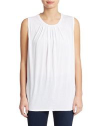 Calvin Klein Jeans | White Sleeveless Pleated Tank | Lyst