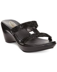 Callisto | Black Ilana Embellished Slide Sandals | Lyst