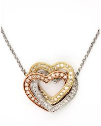 Effy | Metallic Trio 14kt. White Yellow And Rose Gold Diamond Hearts Necklace | Lyst