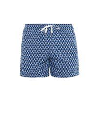 Danward - Blue Polka-Dot And Herringbone-Print Swim Shorts for Men - Lyst