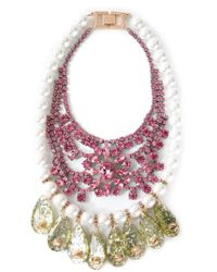Mawi | Pink Embellished Bib Necklace | Lyst