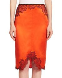 Rag & Bone | Orange Izabella Lace-trimmed Silk Pencil Skirt | Lyst