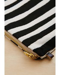 Forever 21 Black Half United Striped Zipper Pouch