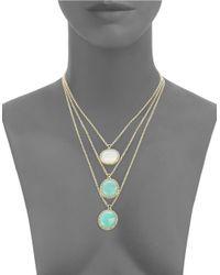 ABS By Allen Schwartz   Metallic Nested Three-Row Necklace- 28 In   Lyst