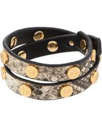 Tory Burch | Black Snake Print Double Wrap Bracelet | Lyst