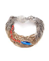 Iosselliani - Metallic Multi-chain Crystal And Stone Embellished Bracelet - Lyst