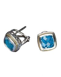 Effy | Balissima Sterling Silver And 18 Kt. Yellow Gold Blue Topaz Earrings | Lyst