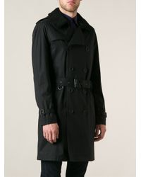 Burberry brit Shearling Collar Trench Coat in Black for Men | Lyst