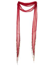 Chan Luu - Red Beaded And Chain Fringed Skinny Scarf - Lyst