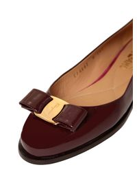 Ferragamo | Purple 10mm Luna Patent Leather Flats | Lyst
