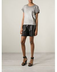 Saint Laurent - Gray Distressed T-Shirt - Lyst