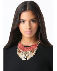 Bebe - Multicolor Crystal Ribbon Bib Necklace - Lyst